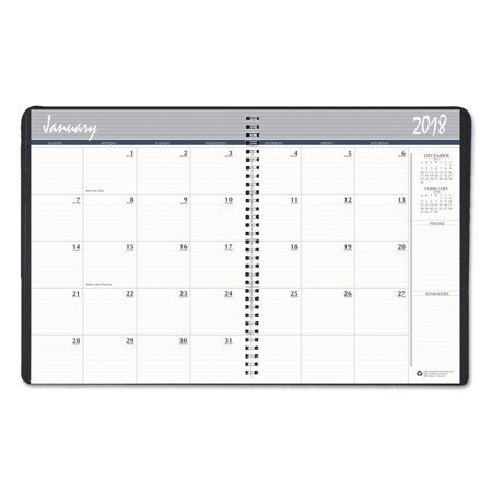House of Doolittle Recycled Ruled Monthly Planner, 14-Month Dec.-Jan., 8 1/2 x 11, Black, 2017-2019 ()