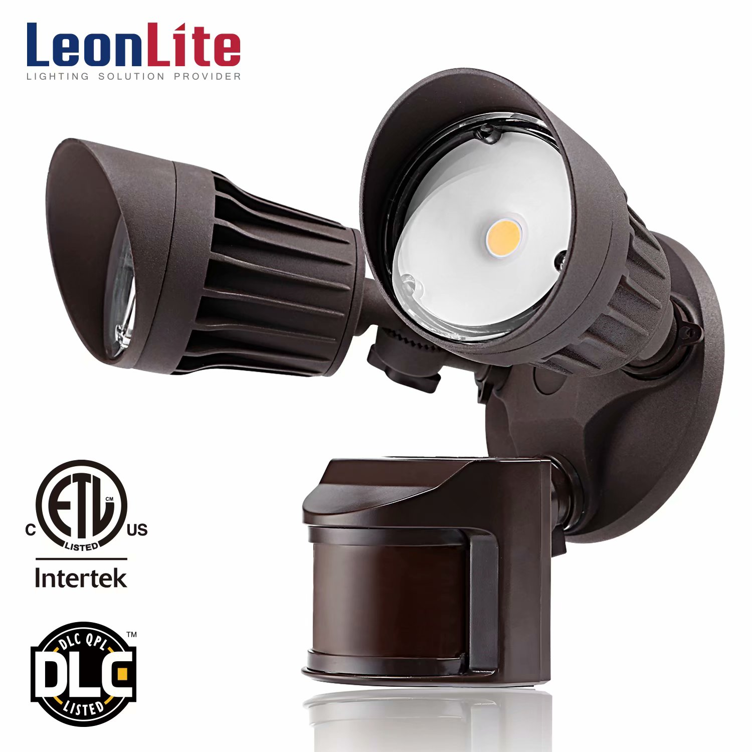 LEONLITE 20W Dual-Head Motion-Activated LED Outdoor Security Light for Patio, Yard, Photocell Included, 3 Lighting Modes, 5000K Daylight, Bronze