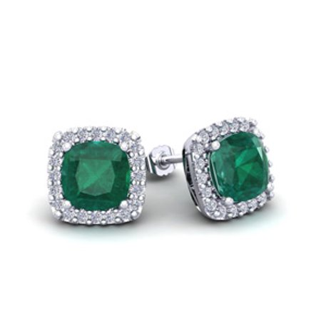 2 1 2 Carat Cushion Cut Emerald And Halo Diamond Stud Earrings In 14 Karat White Gold
