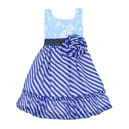 Lele Vintage Little Girls Blue Stripe Flower Adorned Sleeveless Dress - Blue Girls Dress
