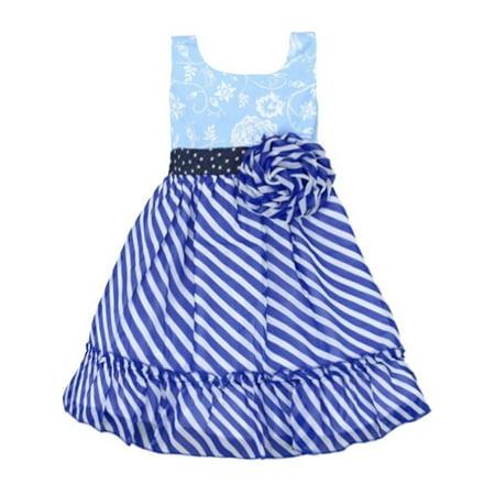 Girls Belle Dress (Lele Vintage Little Girls Blue Stripe Flower Adorned Sleeveless)
