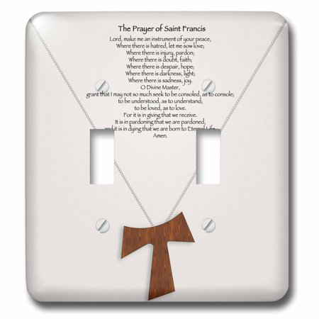 3dRose The prayer of Saint Francis on a creme beige background with a simple wood tau cross on a chain - Double Toggle Switch (lsp_110053_2)