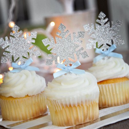 Snowflake Cupcake Toppers 12CT. Handcrafted in 1-3 Business Days. Frozen Party Cupcake Toppers.