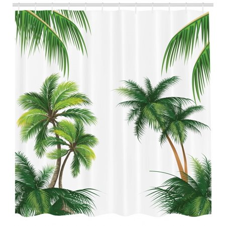 Palm Shower Curtain (Tropical Shower Curtain, Coconut Palm Tree Nature Paradise Plants Foliage Leaves Digital Illustration, Fabric Bathroom Set with Hooks, Hunter Green, by)