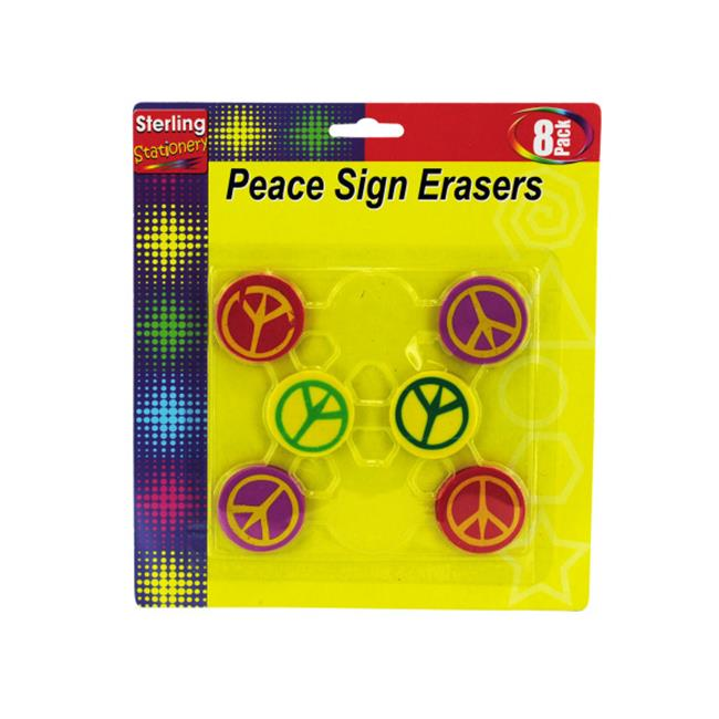 Peace Sign Erasers - Case of 48