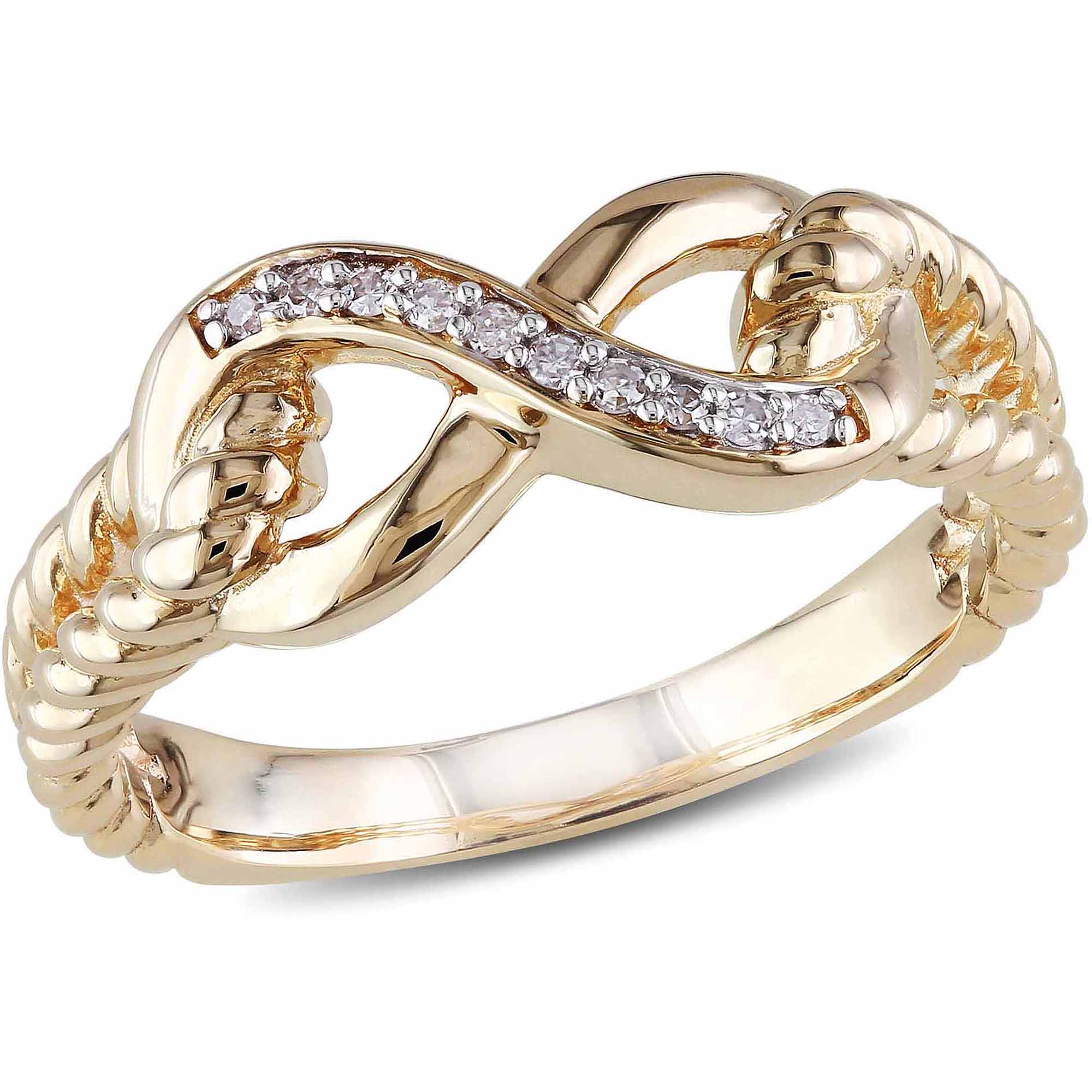 Miabella Diamond-Accent 10kt Yellow Gold Infinity Ring