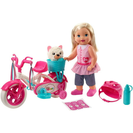 Little Mommy Learn To Ride Doll with Pink Training Bicycle - Little Pink Monster