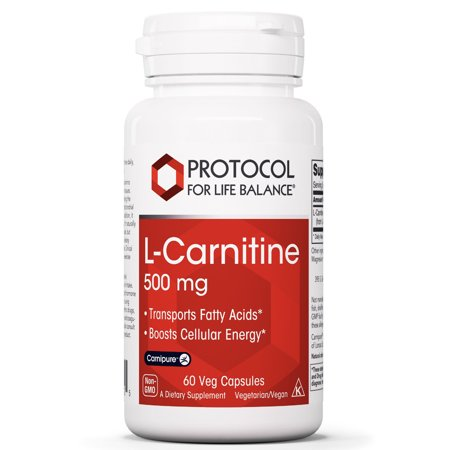 Protocol For Life Balance - L-Carnitine 500 mg - Transports Fatty Acids and Boosts Cellular Energy with Balanced Nutrition for Improved Performance & Recovery - 60 Veg Caps