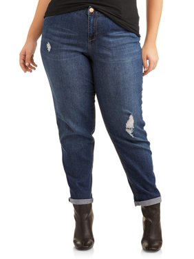 4ecf542daa737 Product Image Women s Plus Size Roll Cuff Girlfriend Jean with Light  Destruction
