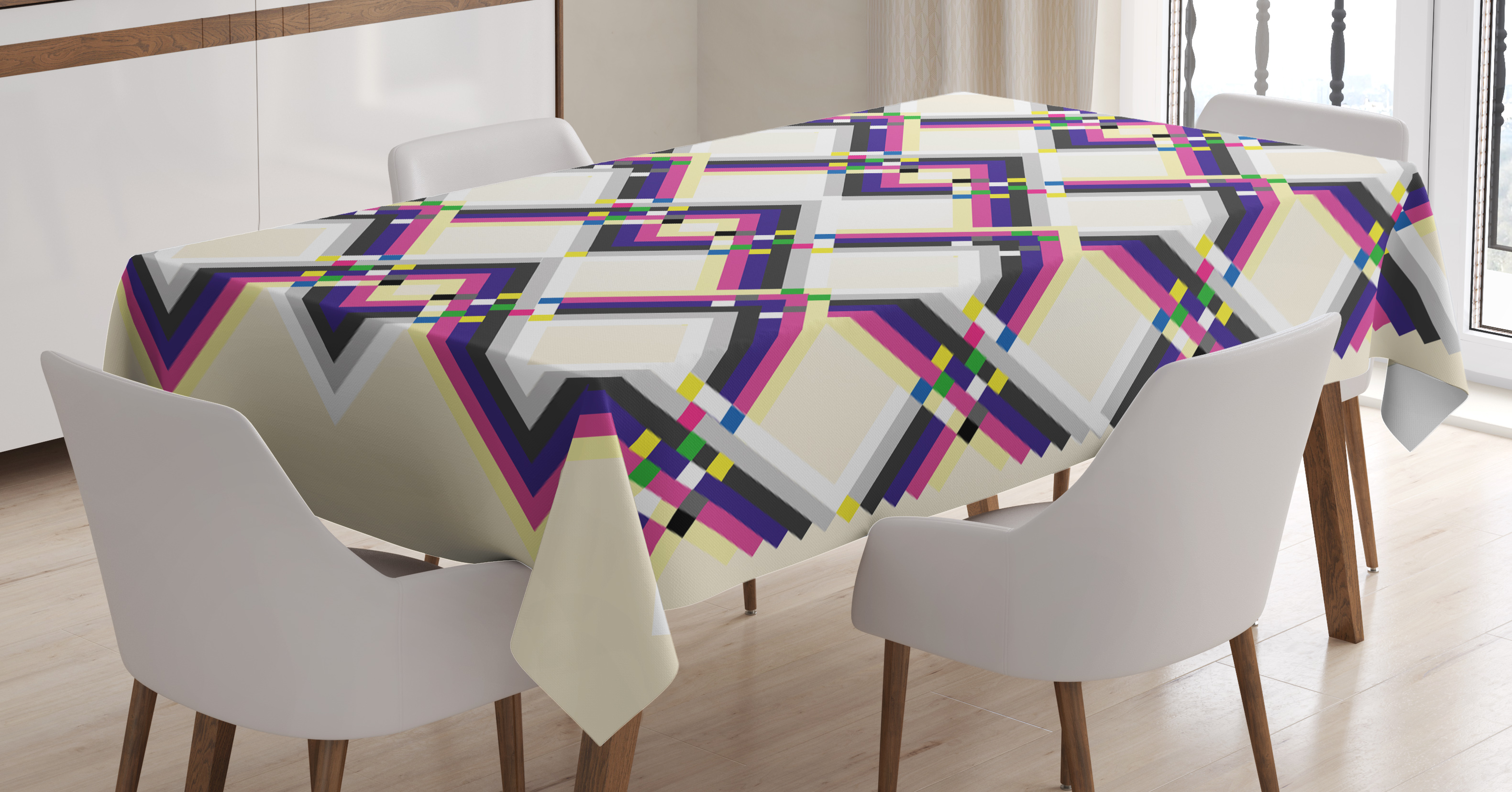 Abstract Tablecloth, Geometric Digital Pattern Square And Diamond Shaped  Linked Figures Print, Rectangular Table
