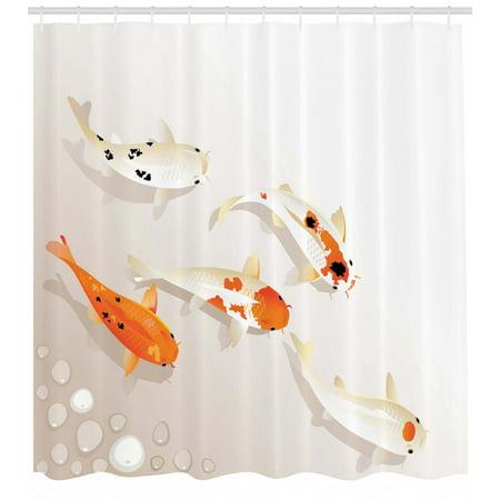 Koi Fish Shower Curtain Traditional Asian Sacred Spotty Figures Carps Oriental Sign Of Love Zen Fabric Bathroom Set With Hooks Orange Beige