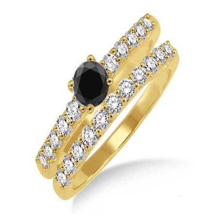 1.5 Carat Black Diamond Elegant Bridal Set on 10k Yellow Gold