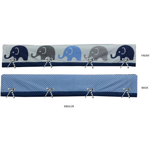 Bacati Elephants Long Crib Rail Guard Cover Blue/Grey For US Standard Crib, 100 Percent Cotton Percale Fabrics with Polyester Filling Crib
