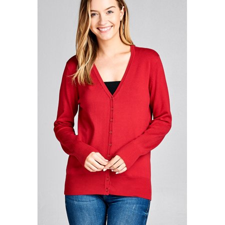 Women's Long Sleeve Button Up Sweater Cardigan Rib Banded Classic V-Neck in Several Colors
