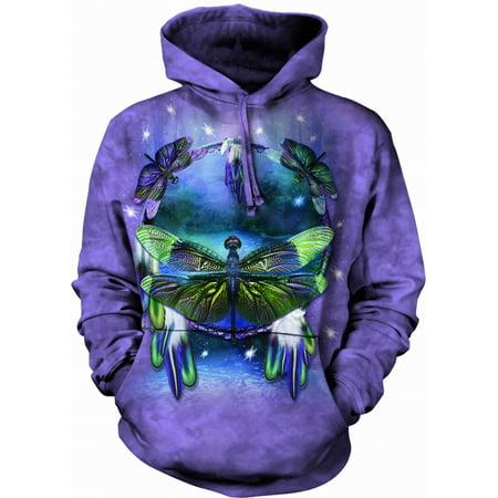 The Mountain DRAGONFLY DREAMCAT Purple Adult Unisex Hooded Sweatshirt