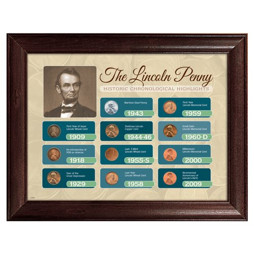American Coin Treasures The Lincoln Penny Historical Chronological Highlight Framed Memorabilia