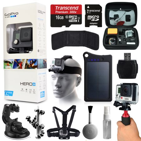 Gopro Hero  Camera Camcorder  Chdhc 101  With Premium Accessories Bundle Includes 16Gb Microsd Card   13200Mah Solar Charger   Case   Head Chest Strap   Car Dash Mount   Stabilizer Grip   More