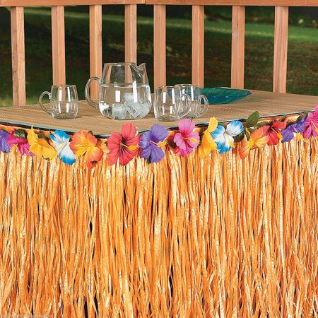 Hawaiian Table Skirt Luau Hibiscus Natural Color String & Colorful Faux Flowers Table Hula Grass Skirt for Party Decoration, Events, Birthdays, Celebration for $<!---->
