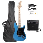 Glarry Full Size Electric Guitar for Beginner with 20 Watt Amp and Accessories,Sky/Bright Blue with Black Pickguard