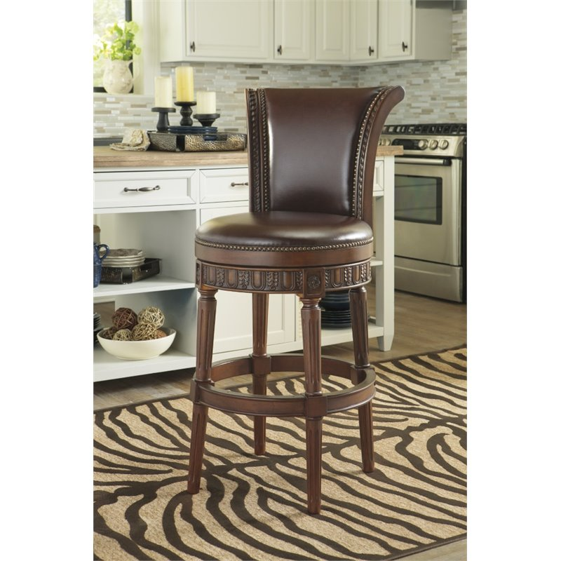 Ashley North Shore 31 Quot Upholstered Swivel Bar Stool In