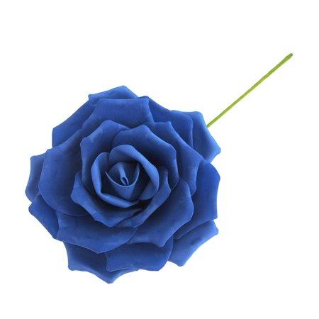 Rose Foam Flower with Stem, Royal Blue, 9-Inch - Foam Flower