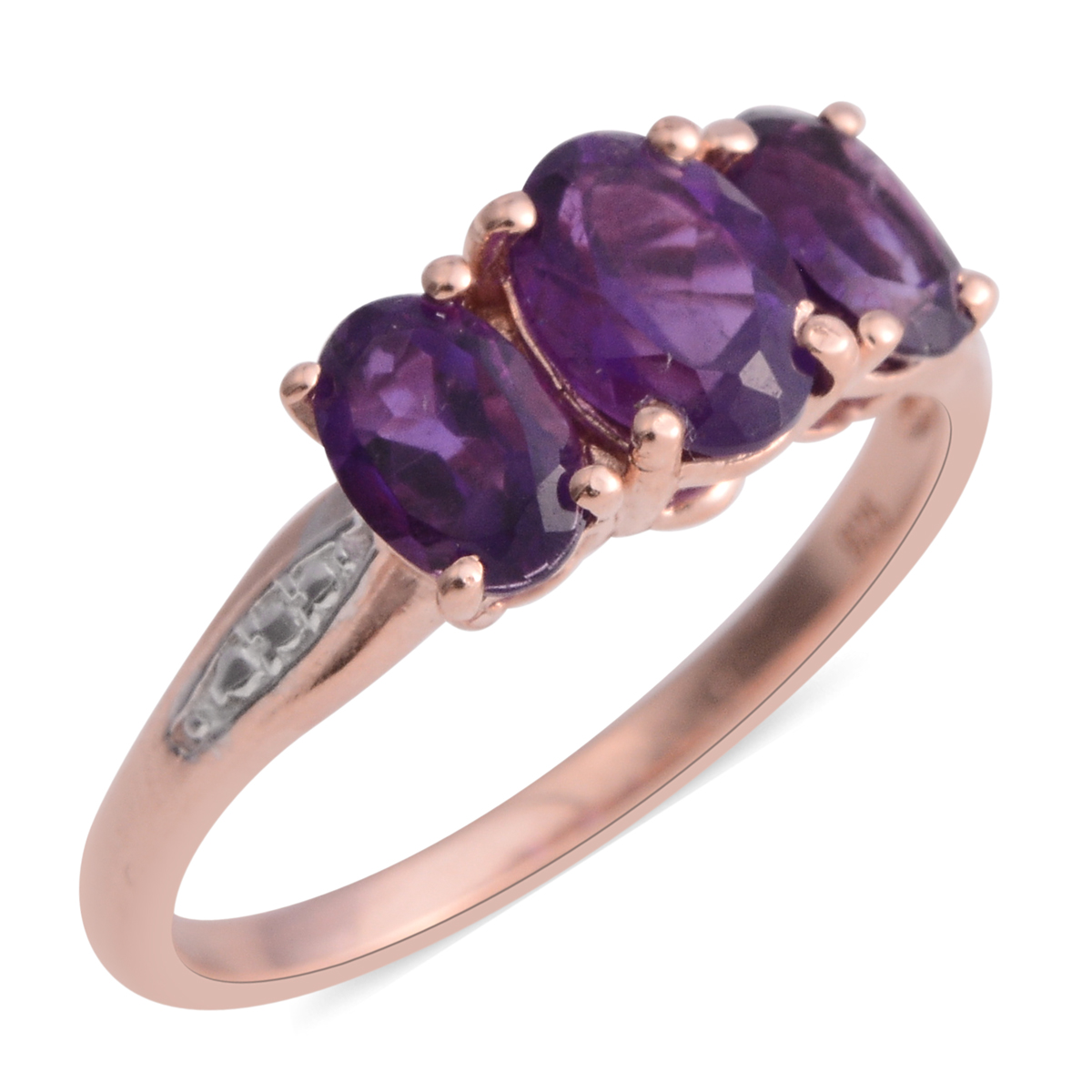 Amethyst 14K Rose Gold Plated Silver 3 Stone Ring 14 cttw Walmartcom