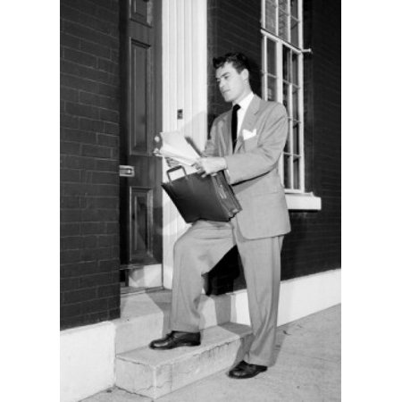 Insurance Agent At Front Door Holding Documents Poster Print