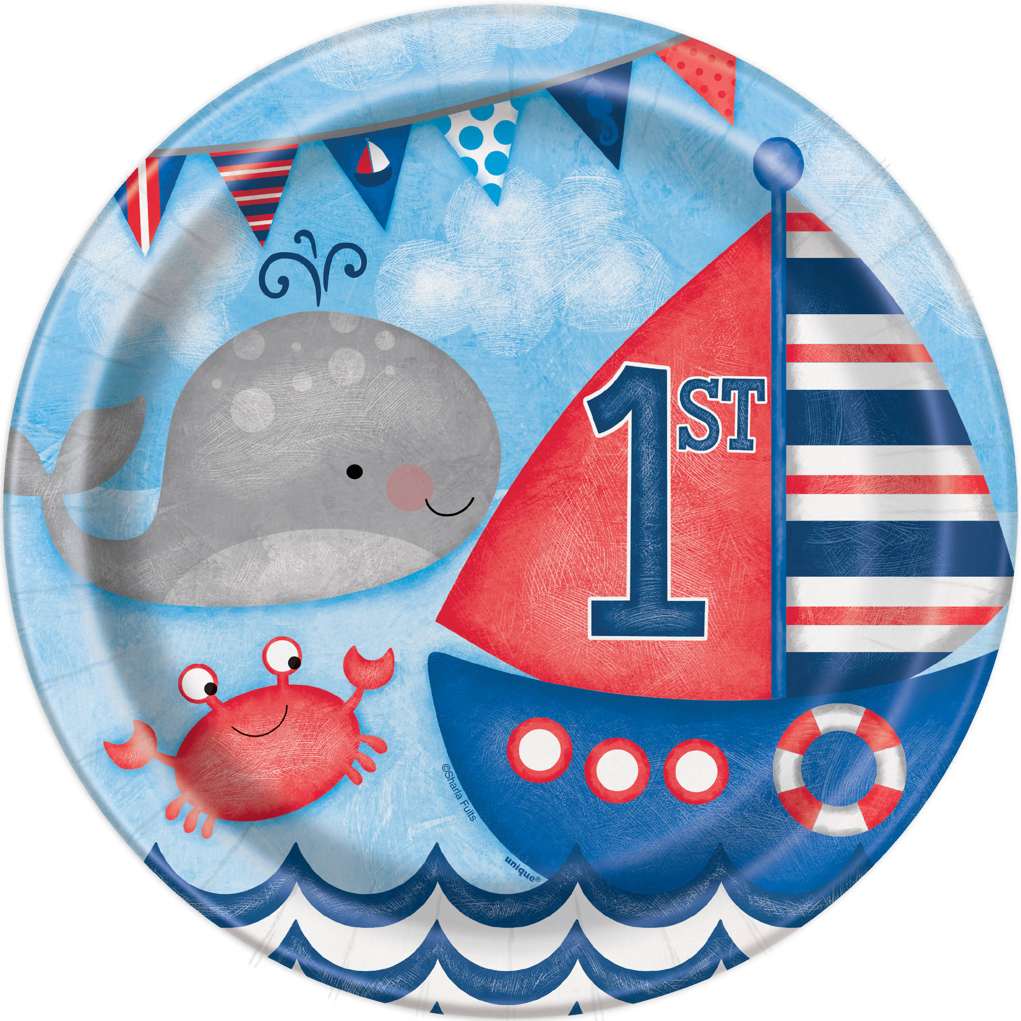 "9"" Nautical Boys First Birthday Party Plates"