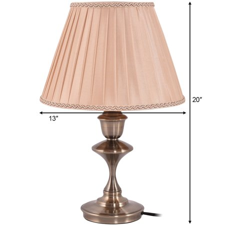 """13"""" Antique Brass Bedside Table Lamp w/ LED Bulb Champagne Office Light - image 1 of 10"""