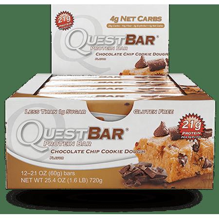 Quest Nutrition Bar des protéines, aux pépites de chocolat Pâte à biscuits, 21g de protéines, 2,12 oz Bar, 24 Count