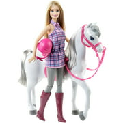 Barbie Doll with Blonde Hair & White Horse Soft Gray Mane & Tail
