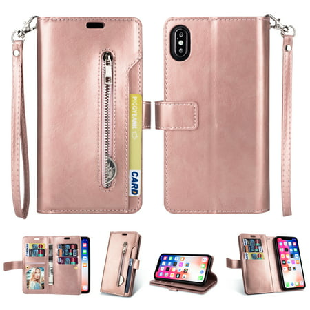 iPhone XS Max Zipper Wallet Case, Allytech [Magnetic Closure]  Multi-Functional Handbag Stand Function Folio PU Leather Flip Cover Inner  Soft TPU Case