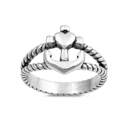 Sterling Silver Cross Heart And Anchor Rope Ring