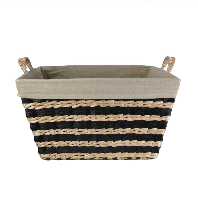 Audrey Black Natural Rush Storage Basket with Liner 16in