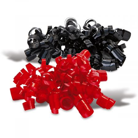Red and Black Christmas Curly Bows - Set of 6 - Curly Ribbon