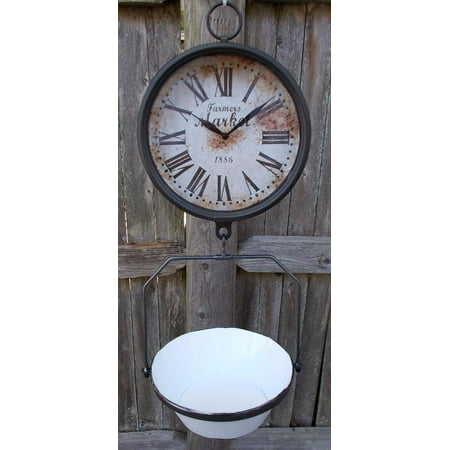 Farmers Market Clock with Hanging Fruit Basket Vintage Scale Themed Design Farmhouse