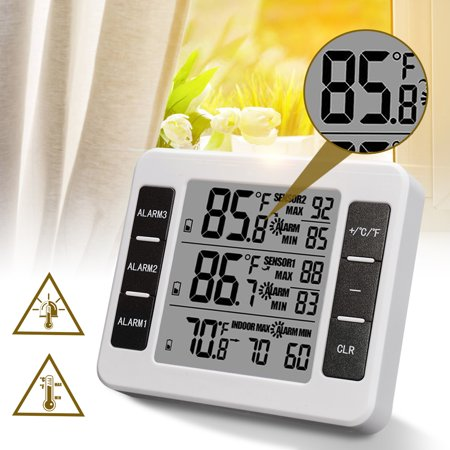 Wireless LCD Weather Station Temperature Thermometer 2 Sensors Alarm Luminou Digital Clock Indoor Outdoor Barometer Humidity Thermometer Forecast (Remote Sensor Weather Thermometer)