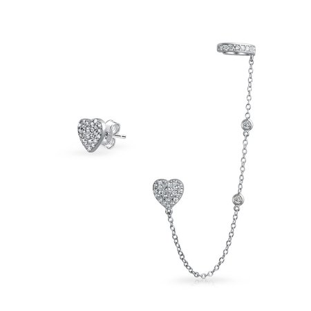 Heart Shaped Chain Cartilage Ear Cuff Wrap Earring Pave CZ Stud Helix Earring Stud Set 925 Sterling Silver
