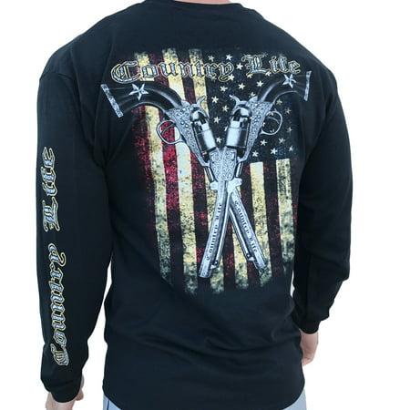 Country Life American Flag and Pistols Black Long Sleeve Shirt (Medium) ()