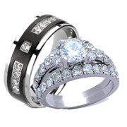 his hers cz wedding ring set stainless steel and black plated titanium - Wedding Ring Set His And Hers