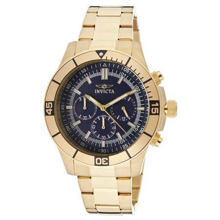 Specialty 12844 45mm Gold Plated Stainless Steel Case Gold Tone Steel Bracelet flame fusion Men's (Invicta Specialty Tritnite Night Glow Flame Fusion Crystal)