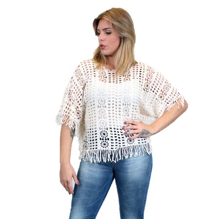 Zodaca Crochet Fringe Top Womens Casual Blouse Shirt Short Sleeve