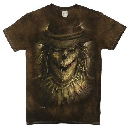Halloween Mens Brown Spooky Scarecrow Face Graphic T-Shirt - Halloween Zipper Face Uk