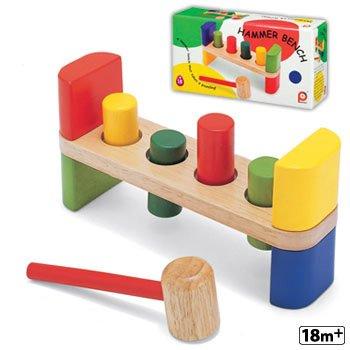 Wooden Hammer Bench Developmental 4 Peg Tool Kids Toy Play
