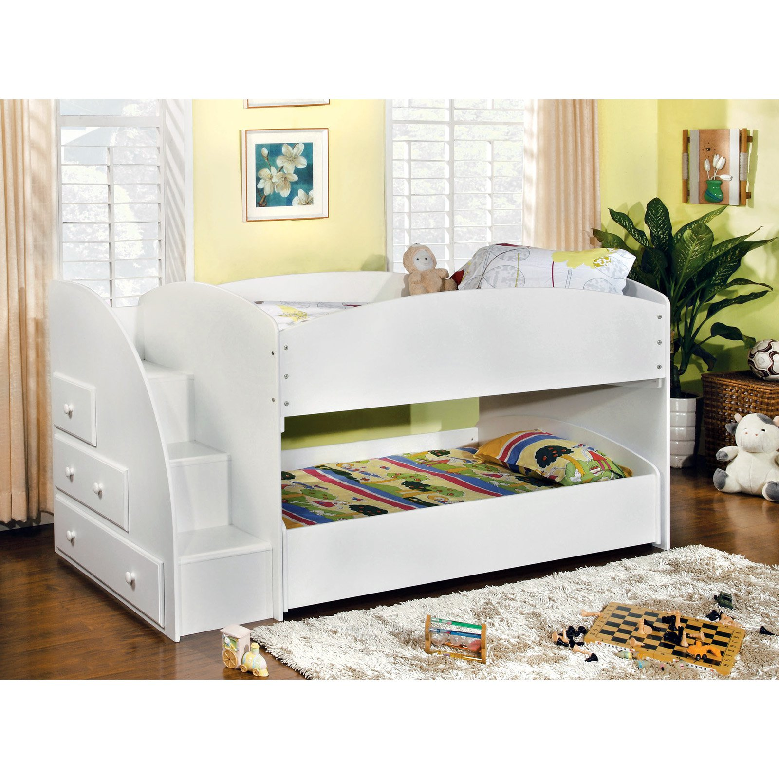 Furniture Of America Ridge Adjustable Twin Over Twin Bunk Bed With Drawers    Walmart.com