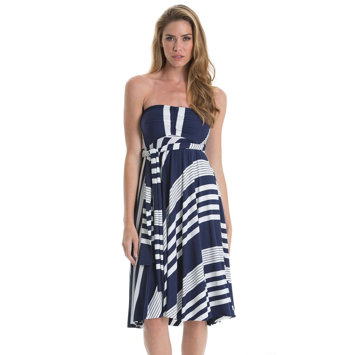 Blue and White Striped Convertible Skirt