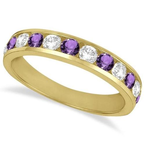 14k Gold n1 1/5ct Channel-Set Amethyst & Diamond Eternity Ring Band (G-H, SI1-SI2) 14k Yellow Gold - Size 7.5