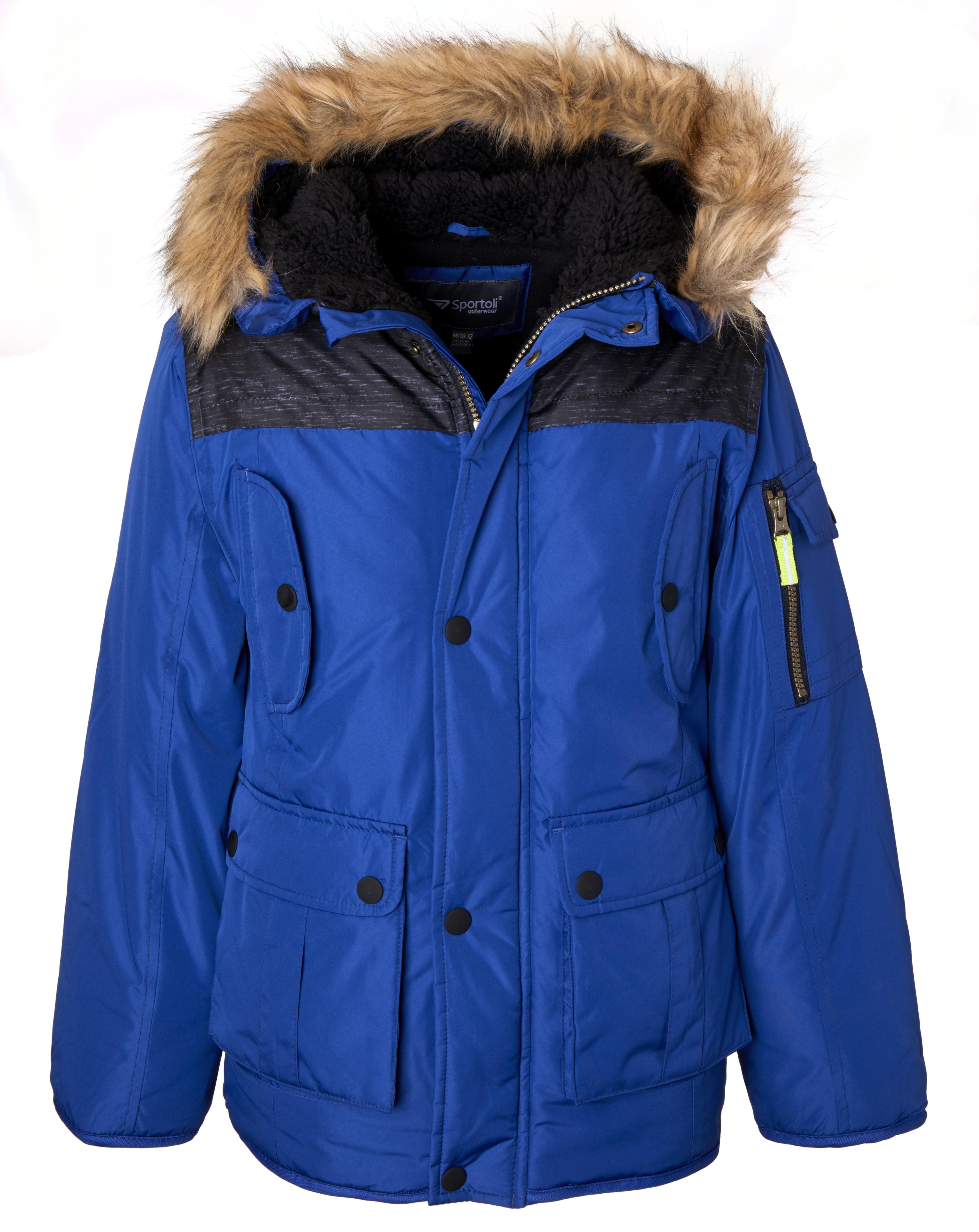 Sportoli Boys' Heavy Fleece Lined Winter Puffer Parka Coat Jacket Fur Trim Hood - Green Camo (Size 7)