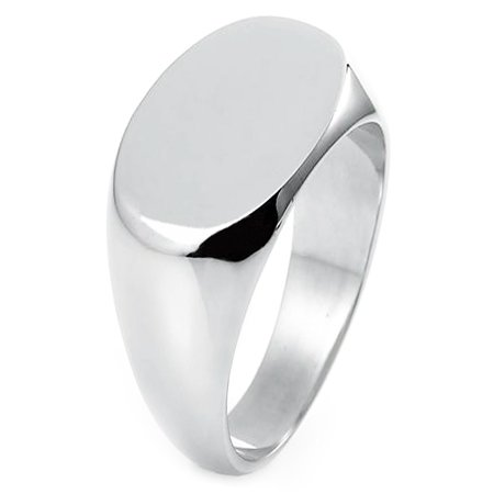 Sterling Silver Oval Flat Top Polished Classic Plain Signet Ring