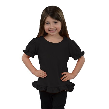 MONAG Toddler Short Sleeve Ruffle Tee - Pink Halloween Shirt